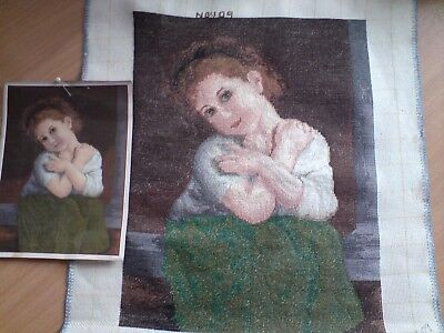 Hand Made Green Girl Picture Goblen Tapestry,wall Hanging, Complete, Embroidery