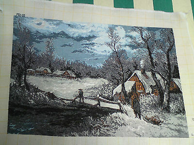 Hand Made Snow Scene Picture Goblen Tapestry,wall Hanging, Complete, Embroidery