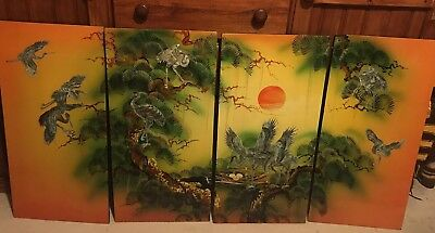 Set Of 4 Beautiful Asian Mother Of Pearl Wall Panels / Pictures