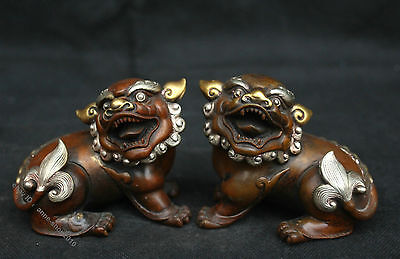 Collect China Pure Bronze Gilt Silver Handmade Lion Foo Dog Beast Statue Pair