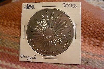 1891 Mexico Eight Reales Go /R.S. (with small chops)