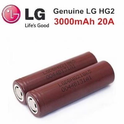 2x GENUINE LG HG2 3000mAh 18650 20/30A High Drain INR Rechargeable Battery