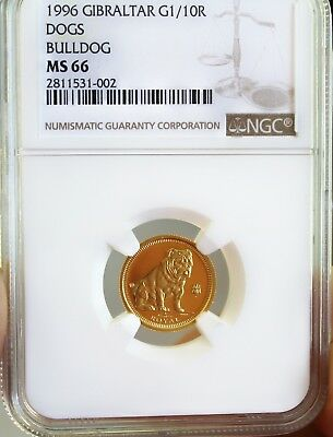 1996 Gibraltar Gold Bulldog Coin 1/10 oz NGC MS66 CERTIFIED AUTHENTIC GUARANTEED