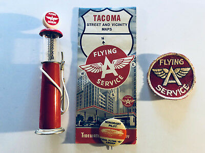 Vintage Flying A Tacoma Street Map, Flying A Patch, Pinback, Model Gas Pump