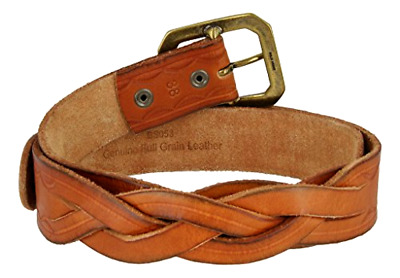 Full Grain Woven Braided Strong Leather Belt for Women & Western Solid Buckle