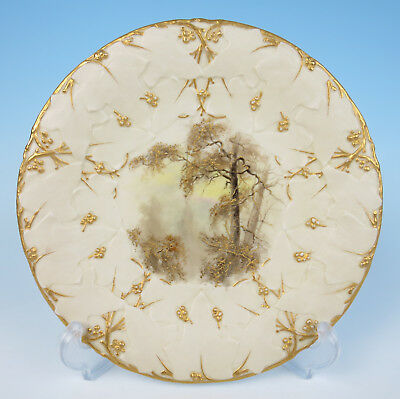Antique Grainger Worcester Hand Painted Forest Scene Plate Raised Gold Porcelain