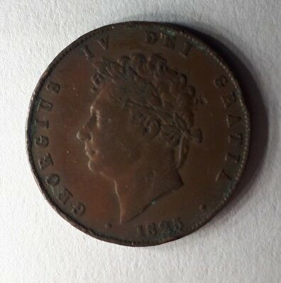 King George IV - 1825 Copper Half Penny Coin