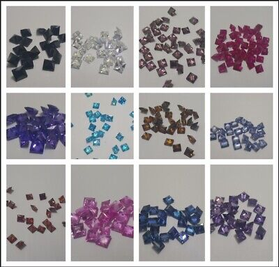 Cubic Zirconia Loose Stone 5.5mm Square Shape Crystal Gems - 3pcs for £1.50
