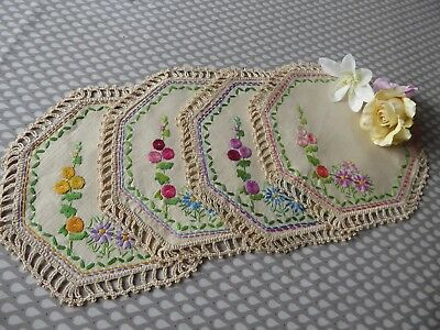Vintage Hand Embroidered Linen Place Mat Set - 4 Pieces/beautiful Embroidery