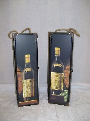 TUSCAN DECOR Single Bottle Wood Wine Box Burlap Handle Latch Carrier SET OF 2
