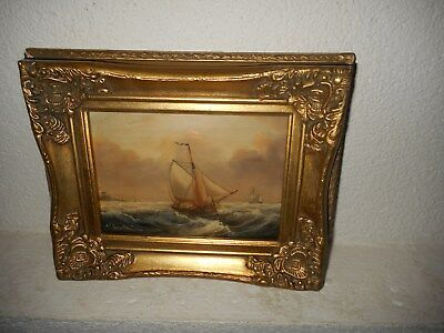 Old oil painting,{  Sailboats on a rough sea, is signed, nice frame! }.