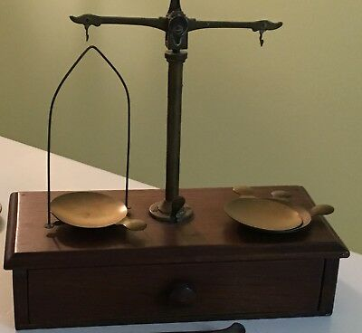 Apothecary Antique Scale with traveling scale, and apothecary weights!