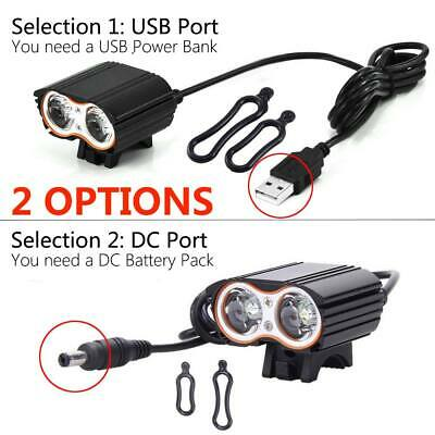 Bike Front Light Ultra Bright T6 LED Bicycle Head Torch Lamp Cycling USB/DC Port
