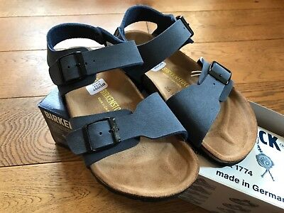 17d75b6080c Boys Birkenstock New York 2 Strap Nubuck Sandals In Navy Blue Size 1 And 3