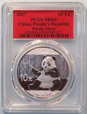 China 2017 10 Yuan Giant Panda Silver Coin PCGS MS69 Temple of Heaven Red Label