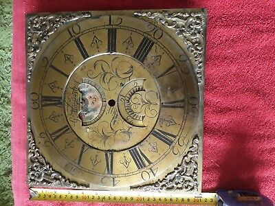 Antique solid brass grandfather clock dial longcase vintage project restoration