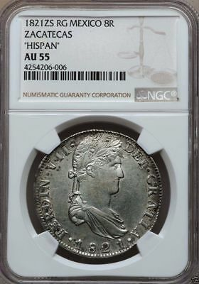 M007 Up for sale is a Mexico Ferdinand VII Royalist 8 Reales 1821 GA-FS NGC AU