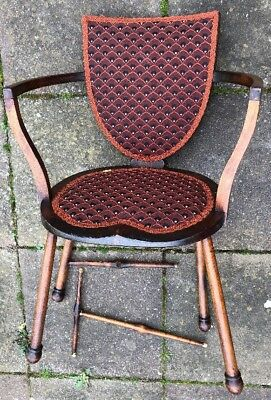 Stamped 'Gw' Antique Art Nouveau Unusual Wooden Chair For Restoration