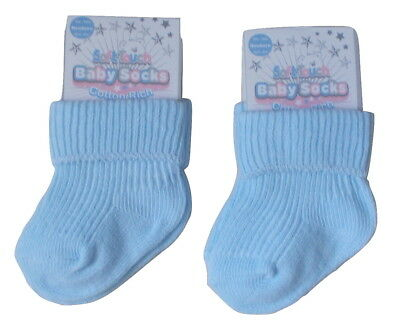 Soft Touch  Baby Boys Blue Turnover Top Ankle Socks 2 Pairs (Newborn)