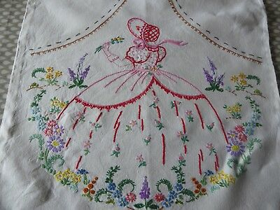 Vintage Hand Embroidered Cushion Cover /beautiful Crinoline Lady/country Garden