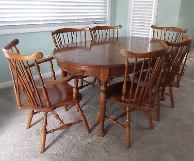 ETHAN ALLEN dining room set table 6 Windsor chairs maple birch local ...
