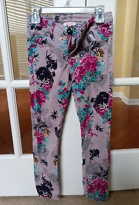 Girls floral slim jeans, age 9-10 years, good pre-owned condition