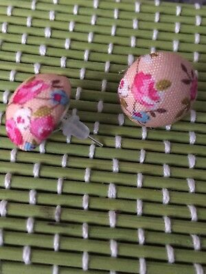 Rockabilly Fabric Button Earings Pinup Vintage 1950s