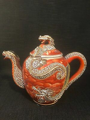 Vintage Moriage Dragon Ware Japanese Satsuma Kutani Large Tea Pot