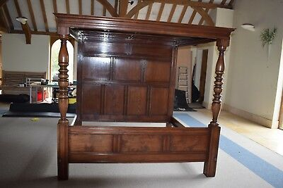 """Oak Four Poster Bed, Hand-Made 6'6"""" x 6'6"""" super king"""