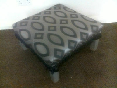 Chippendale Style Large Footstool Coffee Table Silver Painted Legs Geometric Top