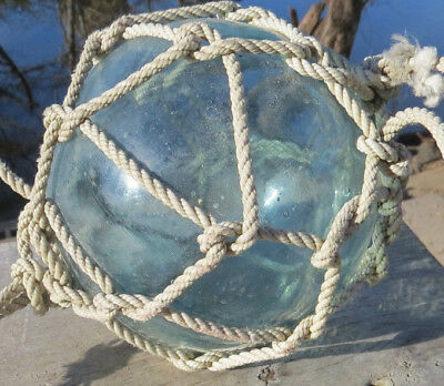 "Japanese Blown Glass Float 5"" RARE SIZE Aquamarine Beige-Net Antique Relic!"