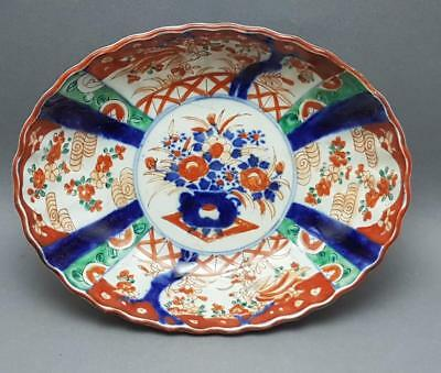 Antique 19Th Century Japanese Imari Oval Dish Meiji Period