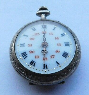 Antique Ladies Pocket Watch - Bevelled Glass - Enamel Watch Face - Fully Working