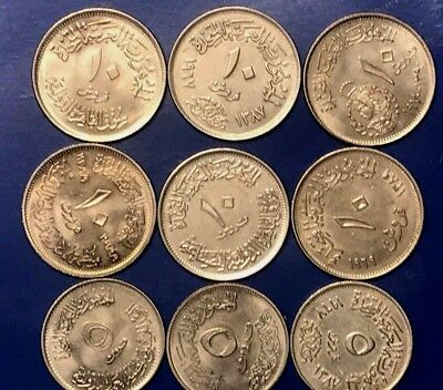 Egypt Lot Of 9 Different Mix Date 5 & 10 Piasters, Beautiful Gem Uncirculated