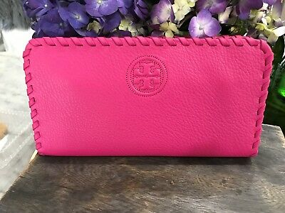 Tory Burch Whipstitch Leather Marion Gusset Continental Zip Around Wallet  $225