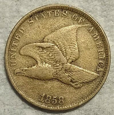 Very Fine+ 1858 SM Letters Flying Eagle Cent! Sharp, original piece!