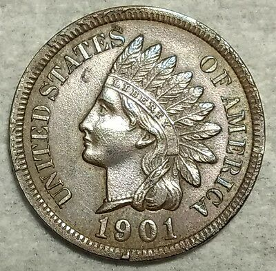 Proof details 1901 Indian Head Cent! Razor-sharp, low mintage piece!