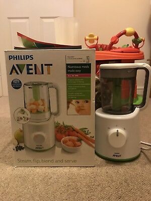 PHILLIPS AVENT COMBINED BABY FOOD STEAMER AND BLENDER Used With Box
