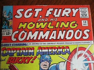 SGT. Fury and His Howling Commandos # 13 2nd solo Capt. America VG+/FN-