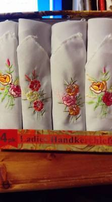 Ladies Handkerchiefs 4 x Boxed Floral Embroidered on White 100% Cotton