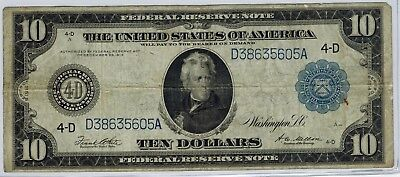 1914 $10 Federal Reserve Note Cleveland District White/Mellon Fr.919c