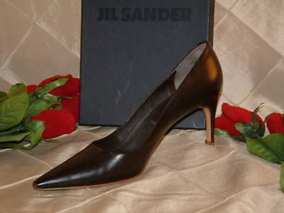 Jil Sander Dark Brown Low Heel Dress Pump Sz 38.5 *from My Personal Stash $315*