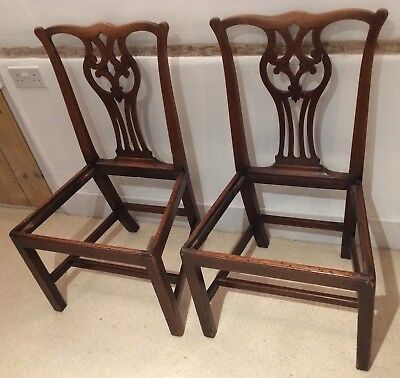 Pair of Antique Mahogany (?) Carved Back Dining Chairs - need new drop-ins.