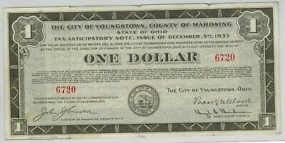 Youngstown Ohio 1933 $1 Tax Anticipatory Note