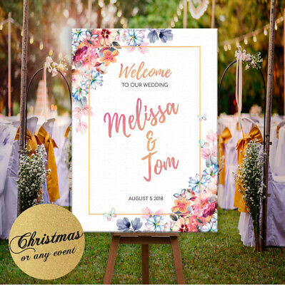 Personalised welcome to our wedding sign poster floral rose gold personalised welcome to our wedding sign poster floral rose gold effect junglespirit Choice Image