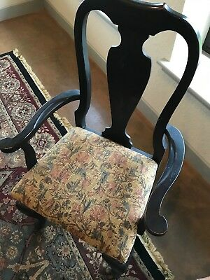 Queen Anne Dining Chairs (4) – Black with tapestry style upholstery seats