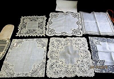 Lot of 6 Antique Lace Wedding Hankies, Brussels Lace, French Val Lace, Tags