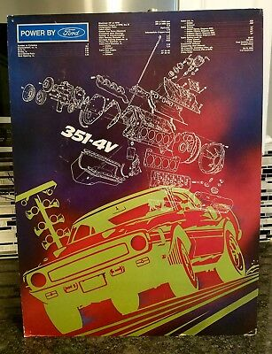 Original 1969-70 Ford Mustang Shelby dealer showroom poster! Featuring a 351 w