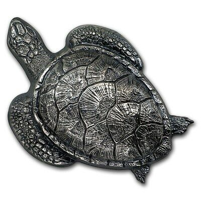 2017 SEA TURTLE 1.44 troy oz Silver Coin Cook Islands $10 Antique Finish
