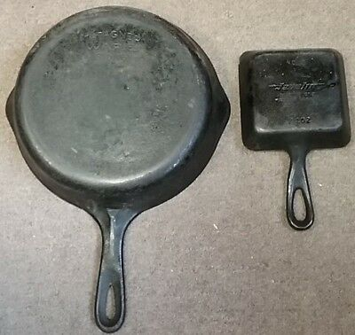 TWO antique old vintage ? Wagner ware Javelin cast iron P102 6561 ? skillet pan